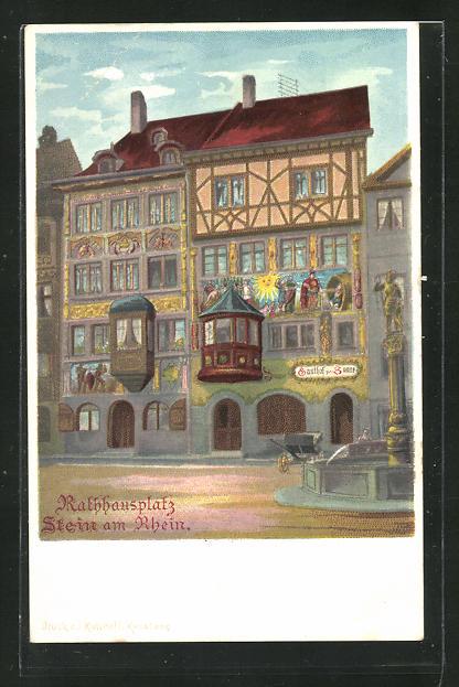 Lithographie Stein am Rhein, Rathausplatz, Gasthof zur Sonne 0