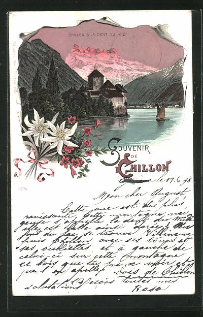 Lithographie Chillon, Panorama mit Dent du Midi 0