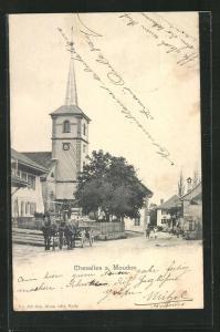 AK Chesalles s. Moudon, Ortspartie mit Kirche