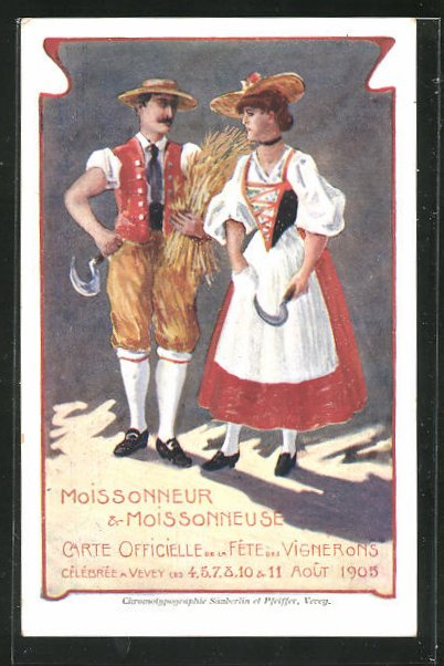 AK Vevey, Fête des Vignerons 1905, Moissoneur & Moisonneuse, Trachten 0