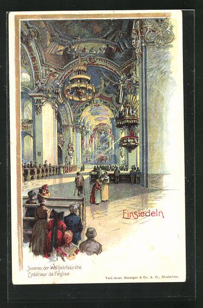Lithographie Einsiedeln, Inneres der Wallfahrtskirche 0