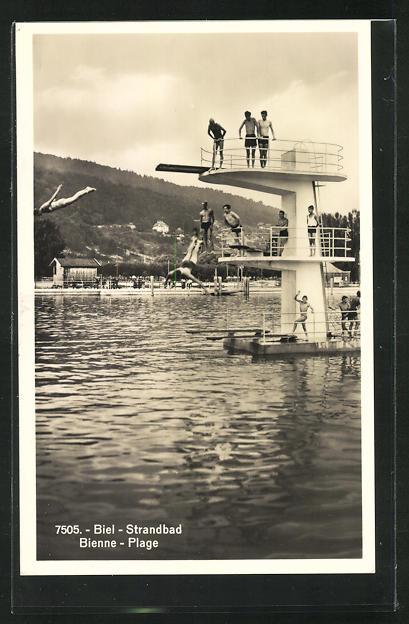 AK Biel / Bienne, Strandbad, Sprungturm 0