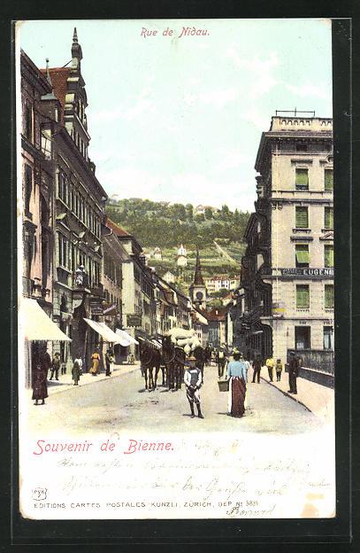 AK Bienne / Biel, Rue de Nidau, Strassenpartie 0