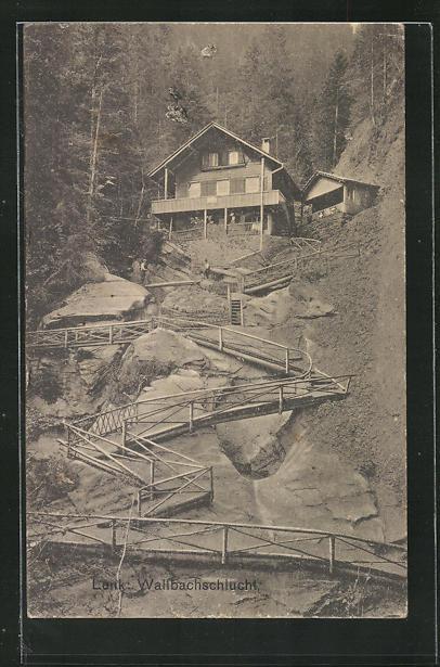 AK Lenk, Wallbachschlucht, Treppe zu Gasthaus 0