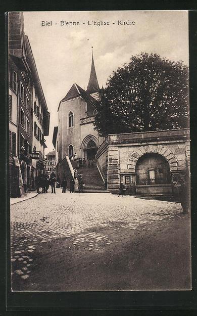 AK Biel / Bienne, Partie mit Kirche 0