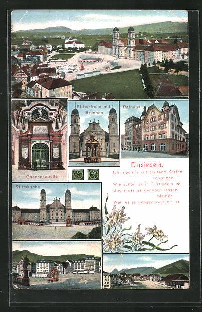 AK Einsiedeln, Gnadenkapelle, Stiftskirche, Rathaus 0