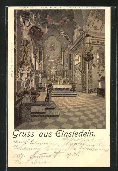 Lithographie Einsiedeln, Inneres der Kirche, Mittlerer Chor 0