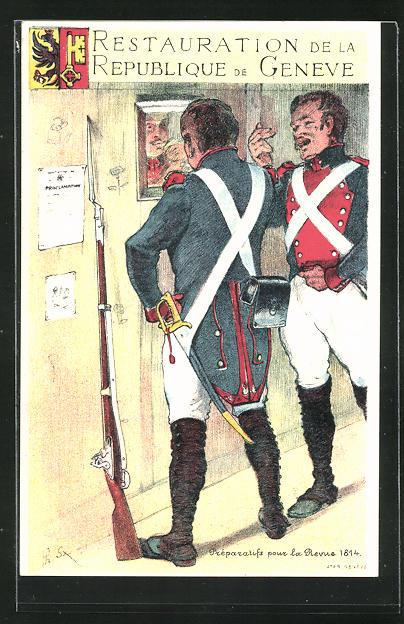 Künstler-AK Geneve / Genf, Restauration de la Republique, Préparatifs pour la Revue 1814 0