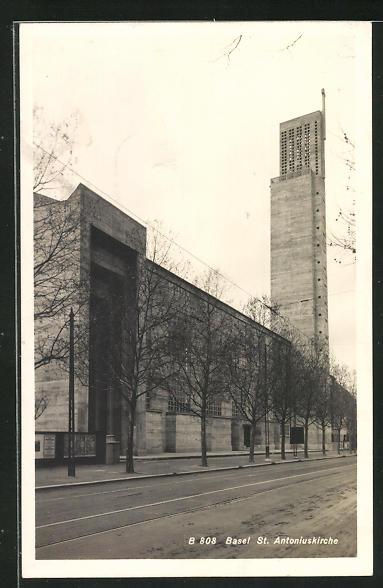 Foto-AK Basel, St. Antoniuskirche, Architektur 0