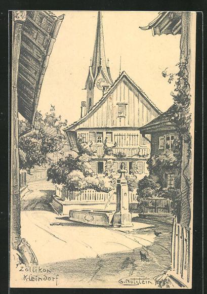 Künstler-AK G. Notstein: Zollikon-Kleindorf, Blick auf Kirche 0