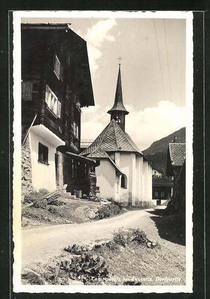 AK Compadials, Dorfpartie mit Kirche 0