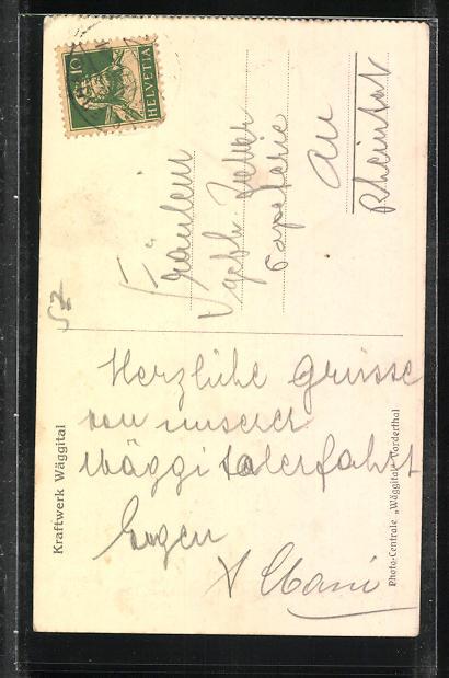 AK Innerthal, Motiv mit Kirche, Schul- u. Pfarrhaus, Sommer 1922 1