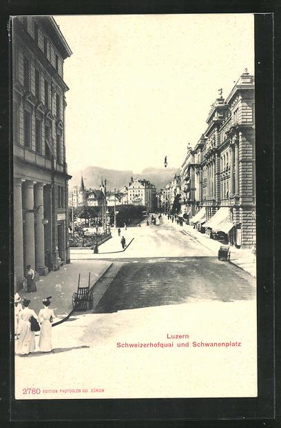 AK Luzern, Schweizerhofquai und Schwanenplatz 0