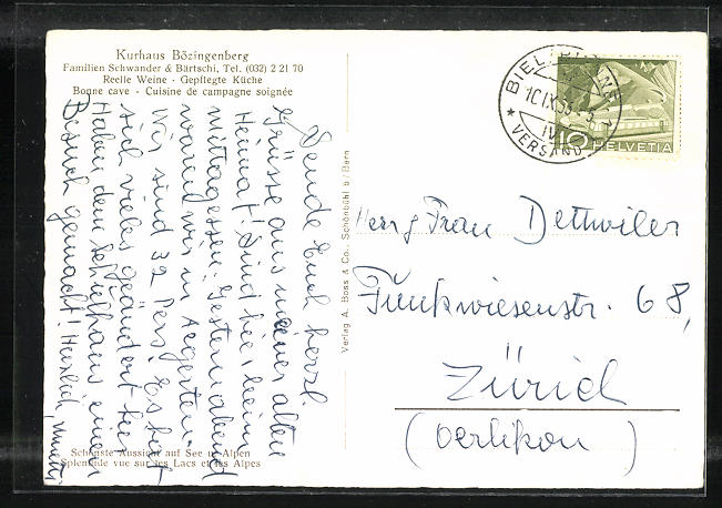 AK Biel, Kurhaus Bözingenberg, Fliegeraufnahme, Gasthaus 1