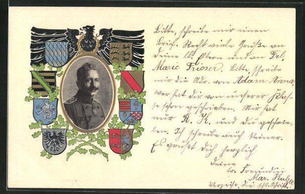 Präge-AK Kaiser Wilhelm II. Portrait, verschiedene Wappen 0