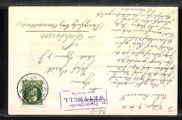 Präge-AK Kaiser Wilhelm II., Schriftrolle An das deutsche Volk! 1
