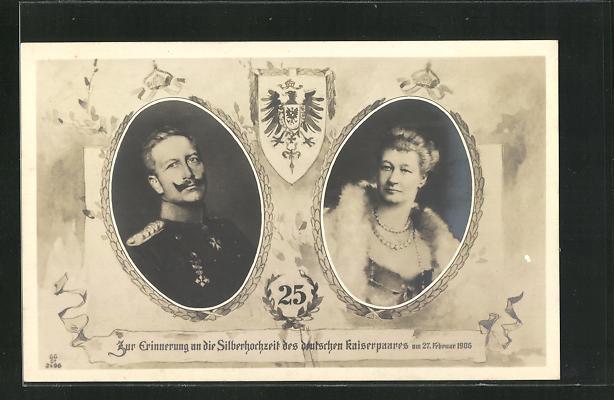 AK Kaiser Wilhelm II. Portrait mit Gattin, Zur Erinnerung an die Silberhochzeit des Kaiserpaares 1906 0