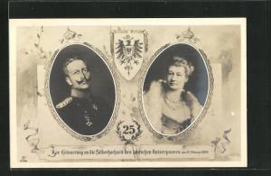 AK Kaiser Wilhelm II. Portrait mit Gattin, Zur Erinnerung an die Silberhochzeit des Kaiserpaares 1906