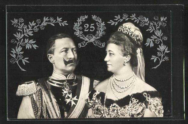 AK Portrait des Kaiserpaares zur Silberhochzeit, Kaiser Wilhelm II. 0