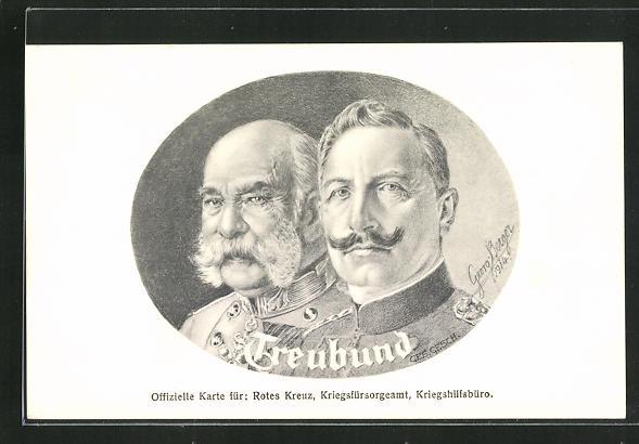 Künstler-AK Zweibund, Kaiser Wilhelm II und Kaiser Franz Josef I. von Österreich im Portrait 0