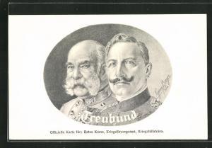 Künstler-AK Zweibund, Kaiser Wilhelm II und Kaiser Franz Josef I. von Österreich im Portrait