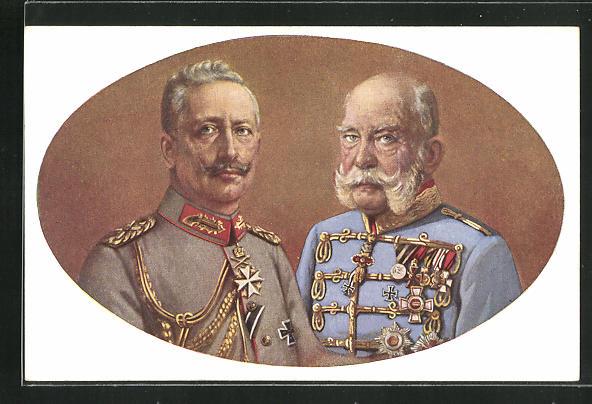 Künstler-AK Portrait von Kaiser Franz Josef I. von Österreich mit Kaiser Wilhelm II. in Uniformen, Zweibund 0