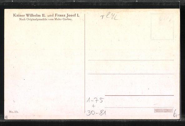 Künstler-AK Portrait von Kaiser Franz Josef I. von Österreich mit Kaiser Wilhelm II. in Uniformen, Zweibund 1