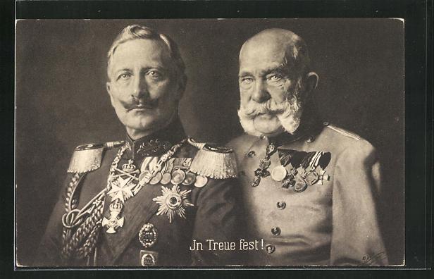 AK Zweibund, Portrait von Kaiser Franz Josef I. von Österreich mit Kaiser Wilhem II. 0