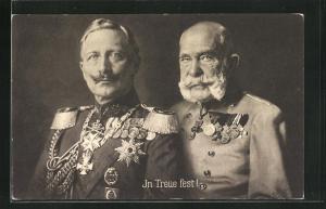 AK Zweibund, Portrait von Kaiser Franz Josef I. von Österreich mit Kaiser Wilhem II.