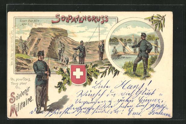 Lithographie Schweizer Soldaten beim Bau eines Steges und Gebäudes 0