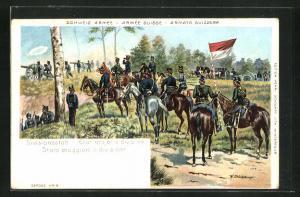 Lithographie Schweizer Kavallerie, Divisionsstab blickt in Richtung Feind
