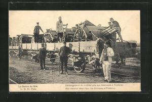 AK Schweizer Soldaten mit Wagenladung Haubitzen
