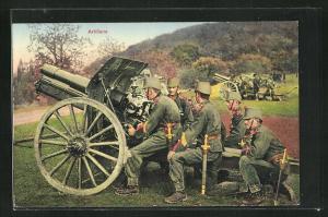 Künstler-AK Schweizer Artillerie mit Haubitzen auf einem Wachtposten