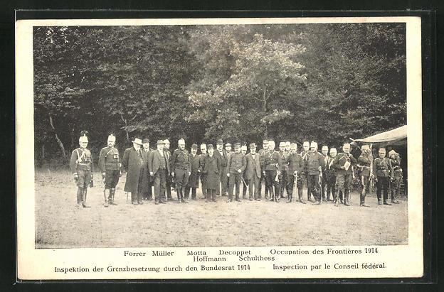AK Schweizer Grenzbesetzung 1914, Forrer Müller, Motta, Decoppet, Hoffmann und Schulthess 0