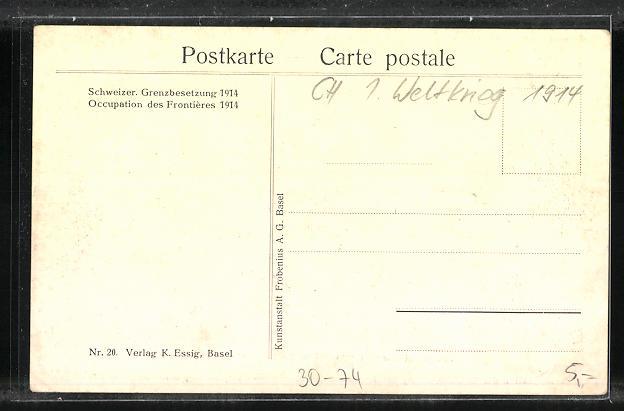 AK Schweizer Grenzbesetzung 1914, Forrer Müller, Motta, Decoppet, Hoffmann und Schulthess 1