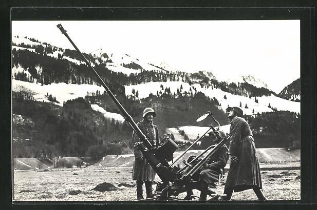 AK Schweizer Soldaten mit Kanone im verschneiten Gebirge 0