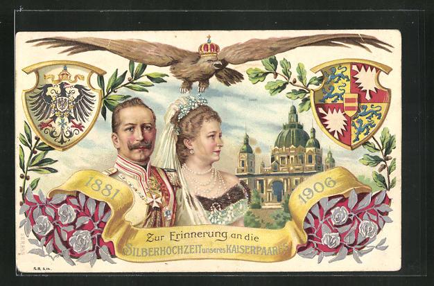 Präge-AK Kaiserpaar mit Kaiser Wilhelm II. zur Silberhochzeit 1906, Schlossansicht, Adler mit Krone 0