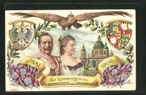 Präge-AK Kaiserpaar mit Kaiser Wilhelm II. zur Silberhochzeit 1906, Schlossansicht, Adler mit Krone