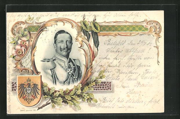 Lithographie Kaiser Wilhelm II. Portrait, Wappen 0