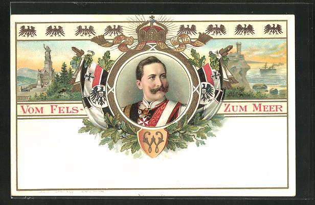 Lithographie Portrait von Kaiser Wilhelm II., Denkmal und Kriegsschiff auf See 0