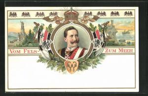 Lithographie Portrait von Kaiser Wilhelm II., Denkmal und Kriegsschiff auf See
