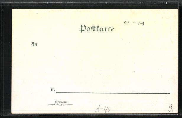 Lithographie Portrait von Kaiser Wilhelm II., Denkmal und Kriegsschiff auf See 1