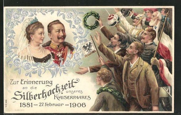 Präge-AK Zur Erinnerung an die Silberhochzeit des Kaiserpaares 1906, Volk jubelt dem Paar zu 0