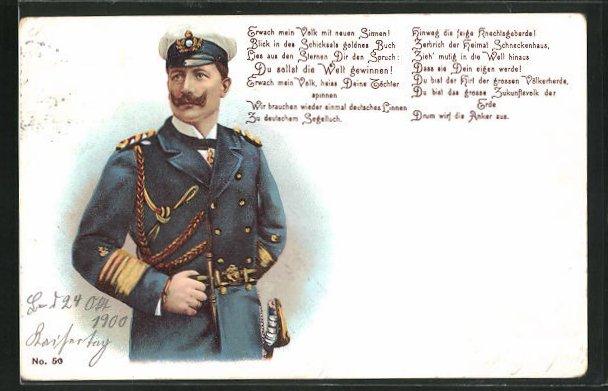 Lithographie Kaisertag 1900, Kaiser Wilhelm II. in Uniform 0