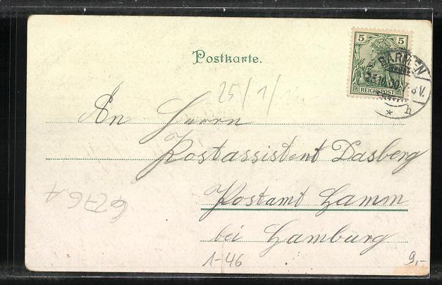Lithographie Kaisertag 1900, Kaiser Wilhelm II. in Uniform 1