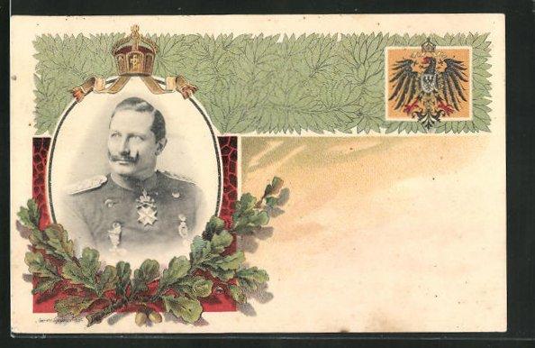 Lithographie Portrait von Kaiser Wilhelm II., Krone und Eichenblattzweig 0