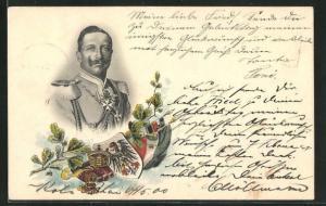 Lithographie Kaiser Wilhelm II. Portrait mit Wappen und Flagge, Eichenblätter