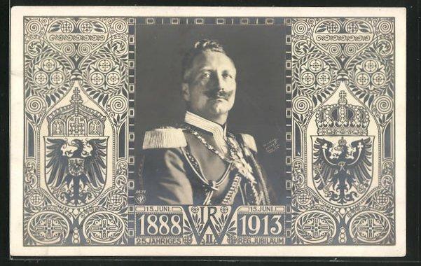 AK Portrait von Kaiser Wilhelm II. zum 25. jähr. Jubiläum, Wappen 0