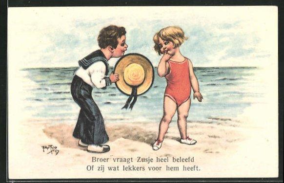 Künstler-AK Arthur Thiele: Knabe im Matrosenanzug spricht mit einem Mädchen im Badeanzug am Strand 0