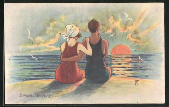 Künstler-AK Arthur Thiele: Liebespaar blick vom Strand auf den Sonnenuntergang 0
